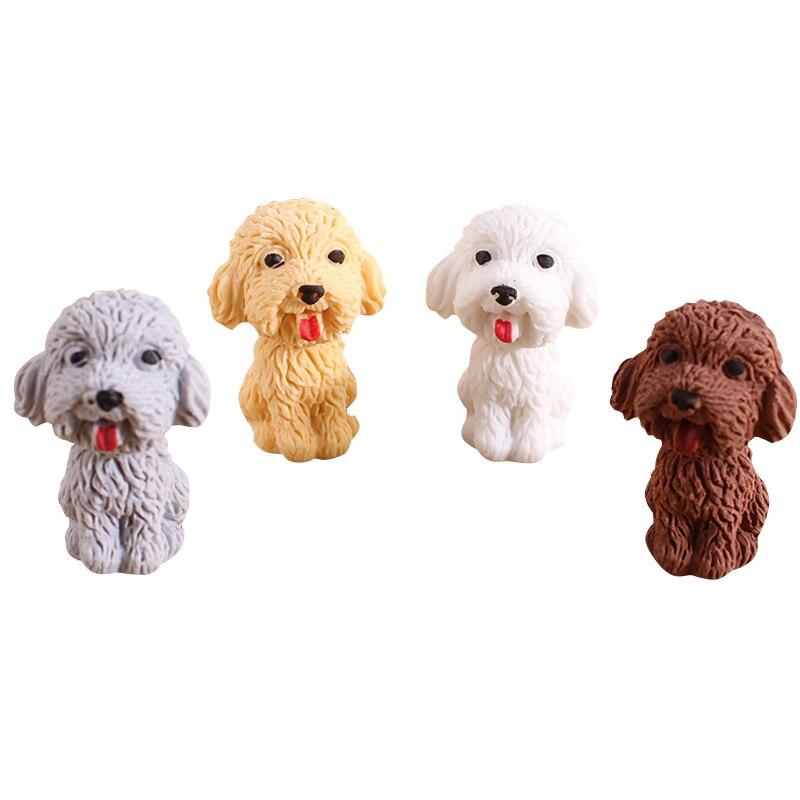 4pcs/lot Cute Mini Dog Eraser Cartoon Animals Pet Rubber Eraser Stationery School Supplies  Kids Gifts