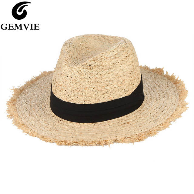 f9c476bb6840e Online Shop GEMVIE Summer Hats For Women Fringe Tassel Raffia Straw Hat  With Black Ribbon Foldable Large Brim Sun Hat Men Beach Cap Panama