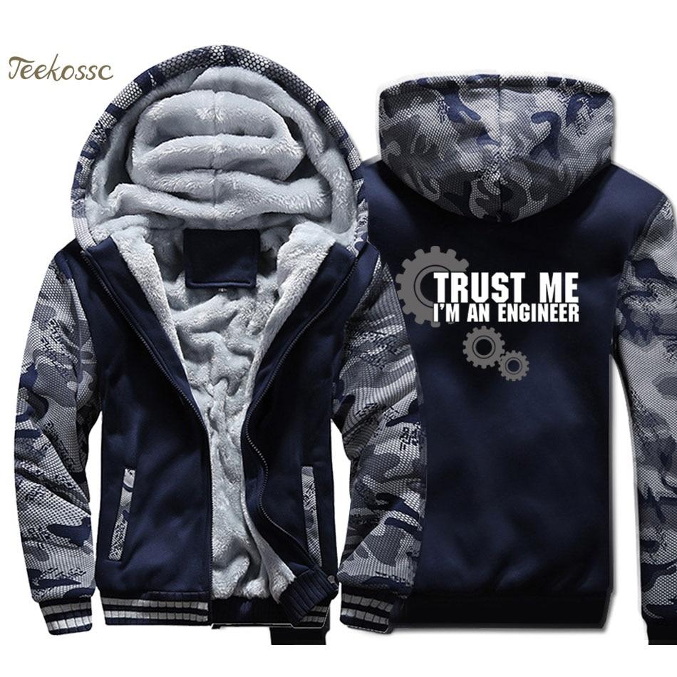 Trust Me I Am An Engineer Jacket Men Funny Hooded Sweatshirt Casual Coat Winter Thick Fleece Warm Zip up Camouflage Hoodie Mens