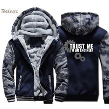 цены на Trust Me I Am An Engineer Jacket Men Funny Hooded Sweatshirt Casual Coat Winter Thick Fleece Warm Zip up Camouflage Hoodie Mens  в интернет-магазинах