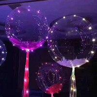 Luminous Led Balon helem Balony 18 Cal 3 M Ciąg Świateł LED Balon Powietrza Okrągły Bubble Wedding Party Decoration IY304102-2