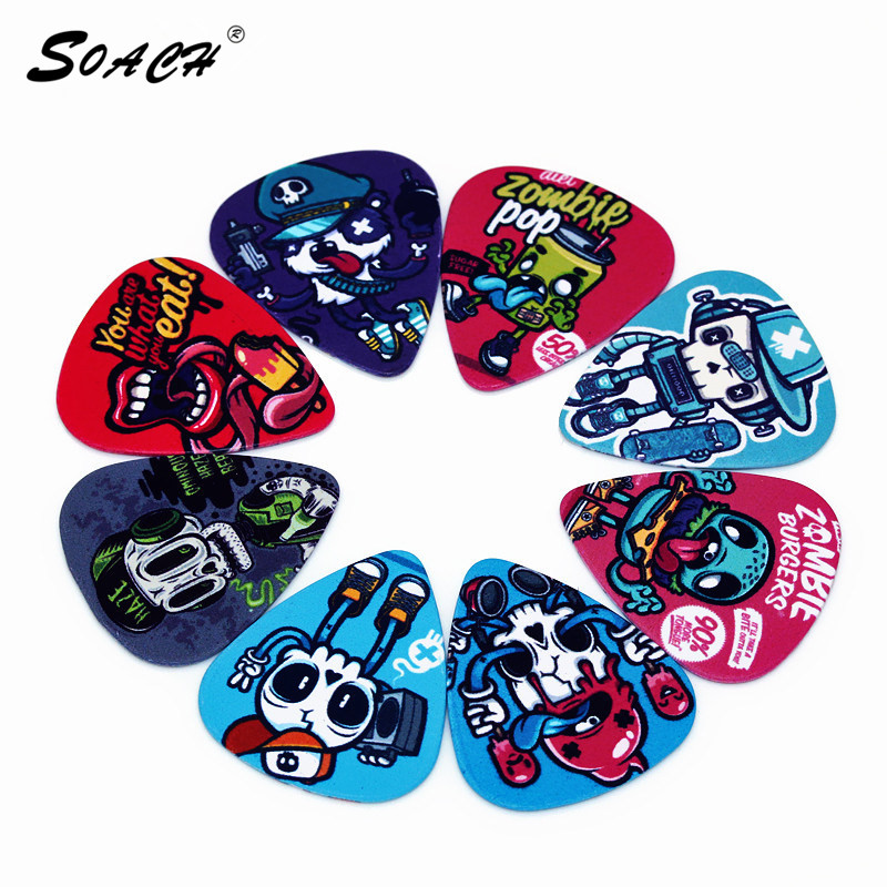 SOACH 10pcs/Lot 0.71mm Thickness Guitar Strap Guitar Parts  Color Graffiti Skull Guitar Picks Guitar Accessories