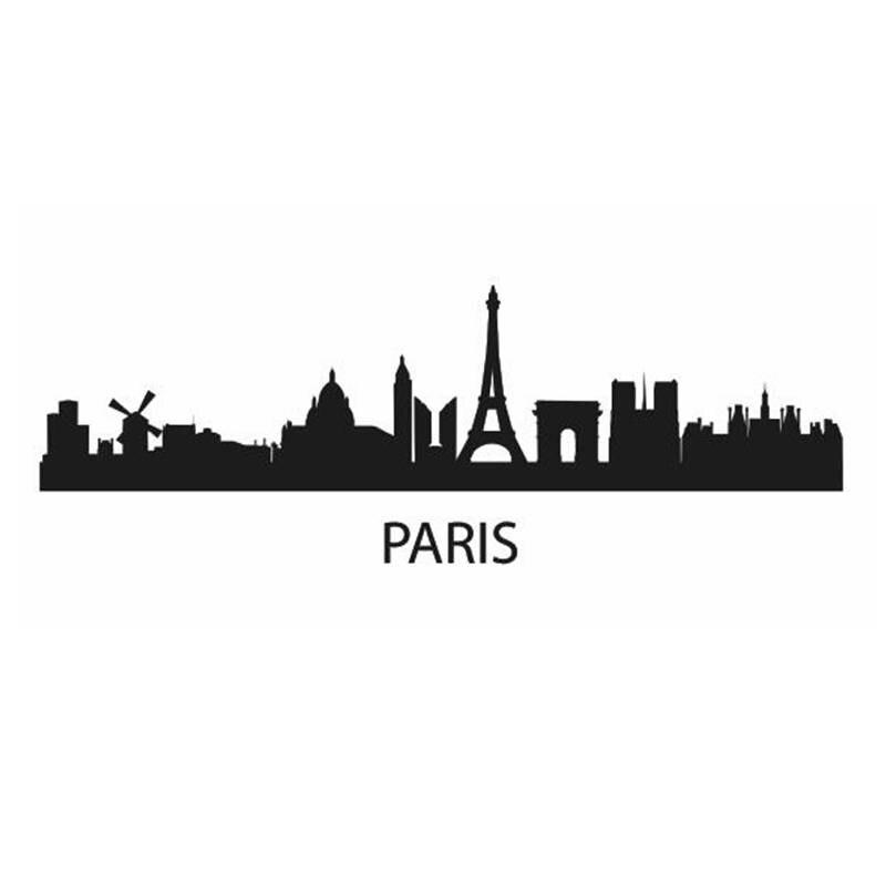 Dctal Париж Город этикета ориентир Skyline Наклейки на стену эскиз плакат Parede Домашний Декор Стикеры