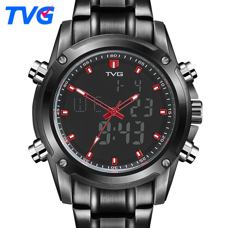 TVG Brand Men Sports Watches Men's Quartz Analog Military Watch Waterproof LED Digital Watch Stainless Steel black KM526 tvg male sports watch men full stainless steel waterproof quartz watch digital analog dual display men s led military watches