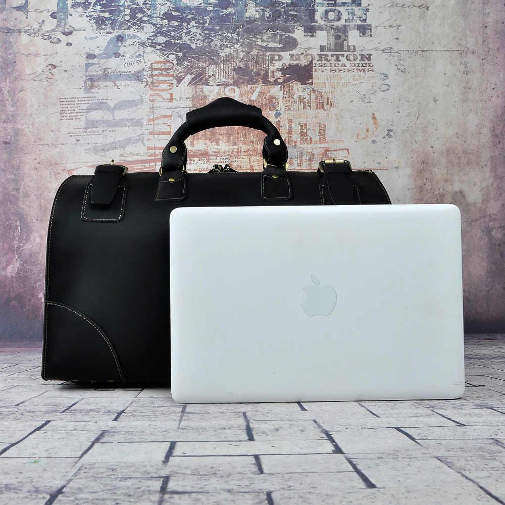 Kwaliteit Crazy Horse Lederen Mannelijke Grotere Capaciteit Retro Design Handtas Duffle Bagage Tas Mode Reizen Koffer Tote Tas 8151-b