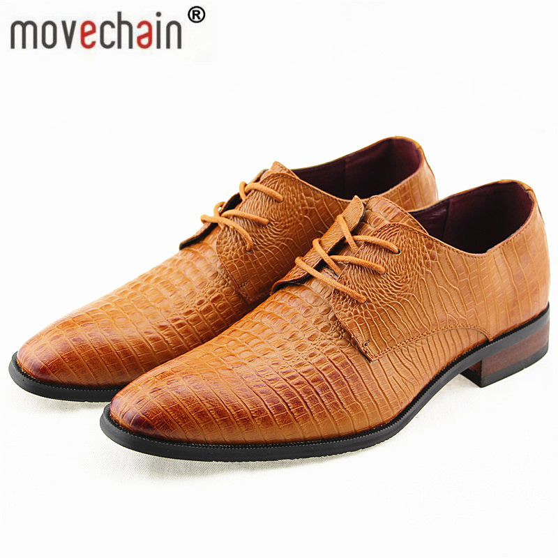 Movechain Fashion Men s Crocodile Grain Genuine Leather Dress Shoes Man Casual Square Toe Oxfords Mens
