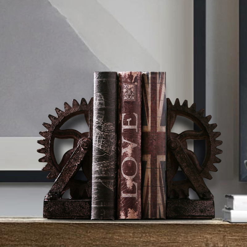 American country industrial gear Bookends soft decoration study theme restaurant creative ornaments