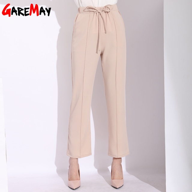 104b7a15cf GAREMAY High Waist Wide Leg Pants Women Loose Culottes Bow Tie Beach Ladies Chiffon  Pants Elegant OL Trousers Women Summer