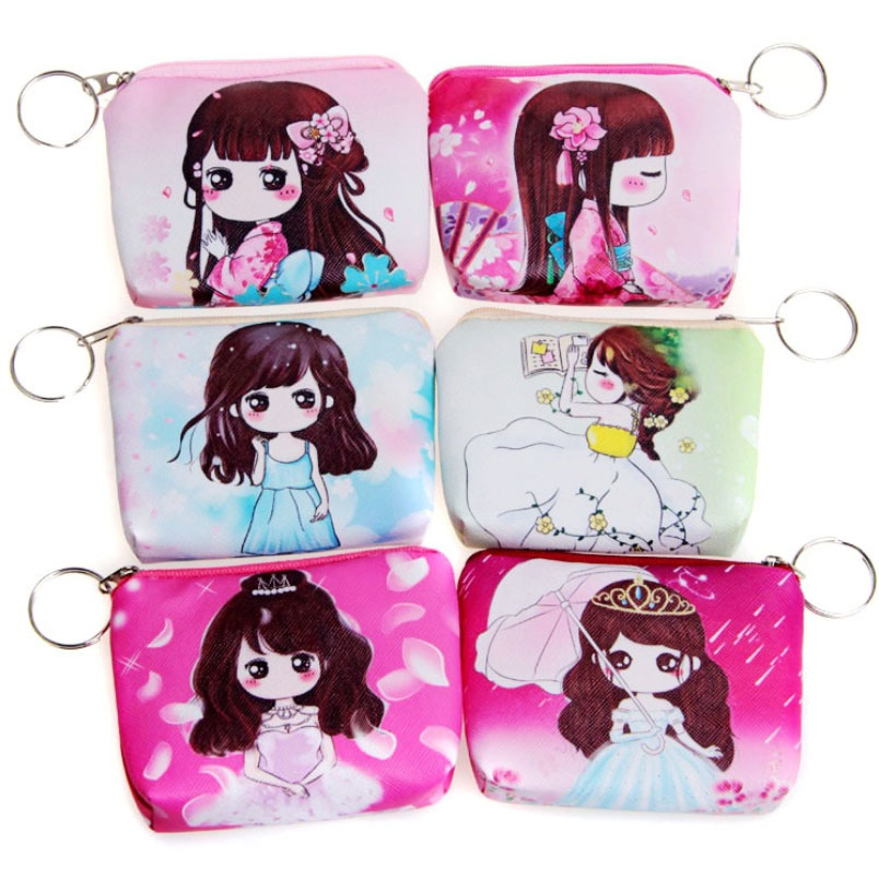 1 pcs Women cartoon Coin Purse PU Leather children Small hobos Wristlet lady Wallet boy Girls Change Pocket Pouch Bag Keys Case стоимость