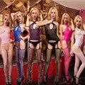 Mulheres Bodysuits Lingerie Sexy Quente Malha Arrastão Meias Do Corpo Virilha Aberta 6 Cores Sexy Nightgowns Pijamas Sexy Produtos