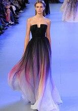Складки шифоновое градиент бретелек ombre вечернее сексуальные красочные без платья платье
