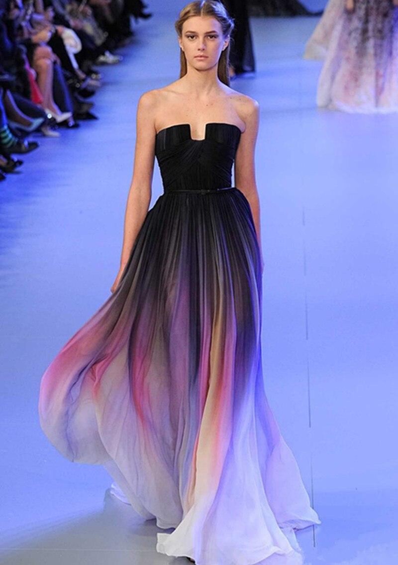 Nuevo Gradiente de Colores Sexy Vestidos Ombre Gasa Vestido de ...