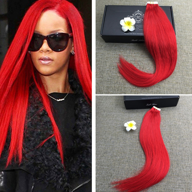 Full Shine Best Tape In Human Hair Extensions Red Skin Weft Seamless