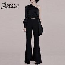 INDRESSME 2019 Fashion Sexy Pant Suits Set One Shoulder Irregular Long Sleeve Top Flare Women Elegant 2 Pieces Sets