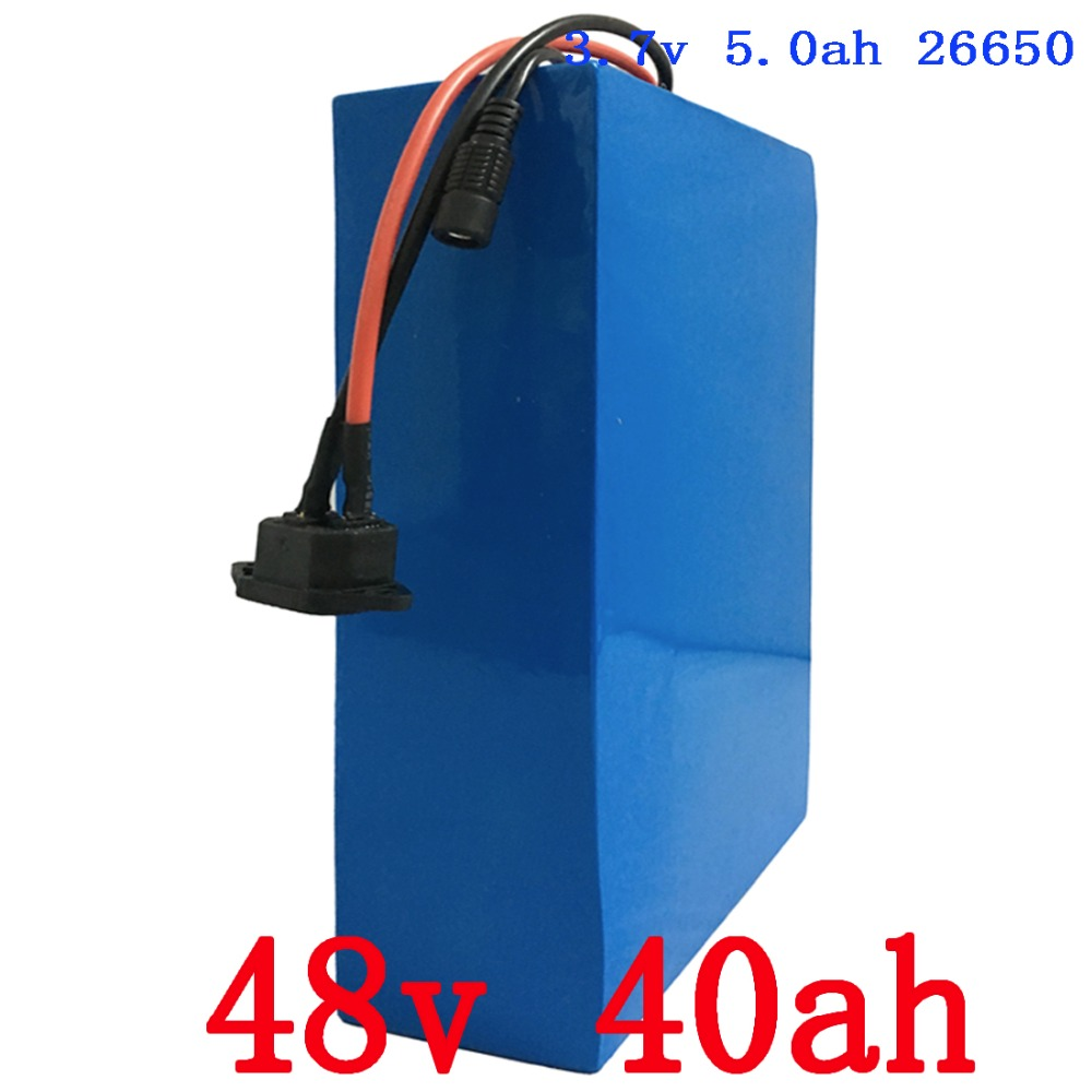 2000w Lithium 48v 40ah Battery for 48v Electric Bicycle Drive Motor with 54.6V Charger 50A BMS eBike Battery 48v Free Shipping free customs taxes super power 1000w 48v li ion battery pack with 30a bms 48v 15ah lithium battery pack for panasonic cell