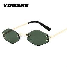 YOOSKE Vintage Hexagon Sunglasses Women Brand Designer Small Cat eye Sun Glasses Retro Rimless Red Black Eyewear Ladies Glasses