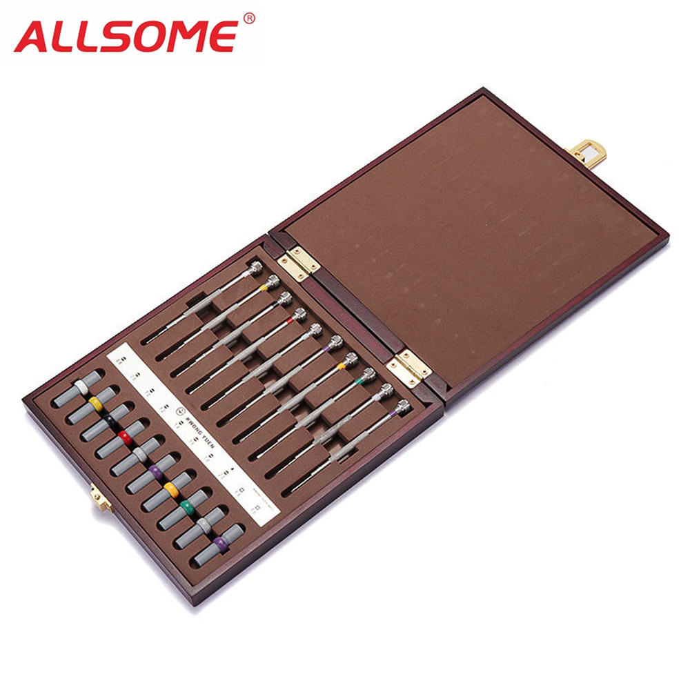ALLSOME 10pcs Assorted Screwdriver Set Watch Repair Screwdriver Tools With Weight Barrel for Watchmaker HT1872 цена 2017