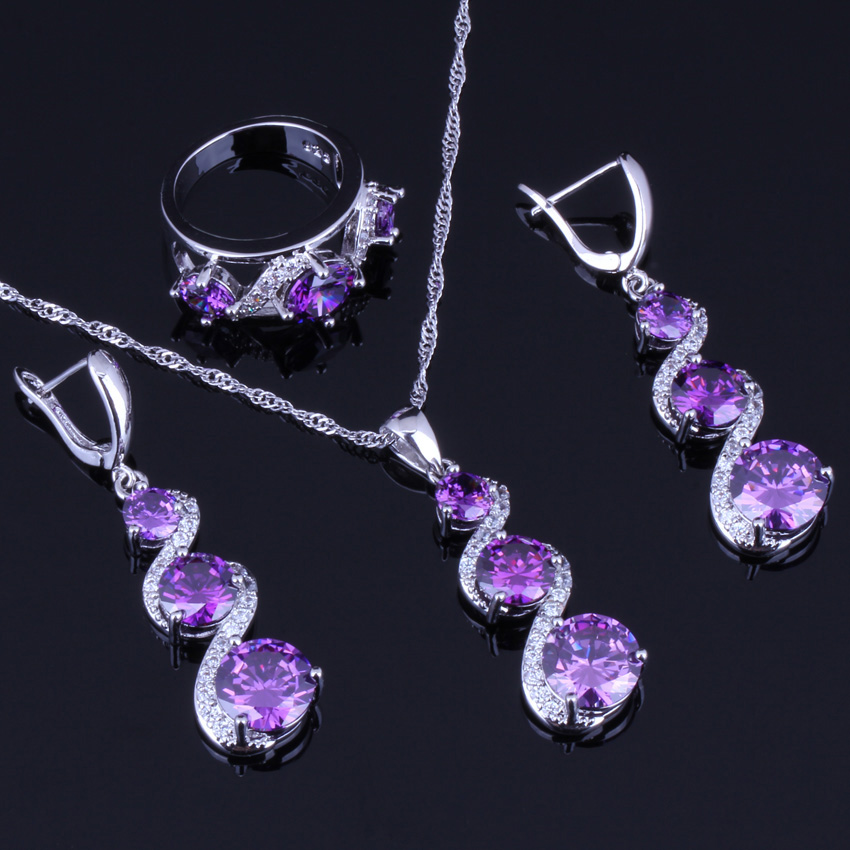 Angelic Round Purple Cubic Zirconia White CZ 925 Sterling Silver Jewelry Sets For Women Earrings Pendant Chain Ring V0032