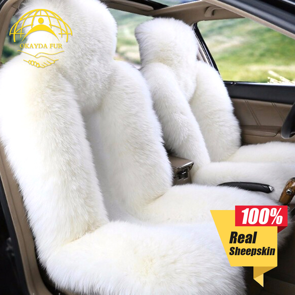 okayda 1pc natrual sheepskin car seat cover New Soft Australia fur deluxecar accessories cushion car styling factory price 1 pc free shipping shearing wool 100% australia sheepskin car seat cover for one front seat auto car cushion universal car cape
