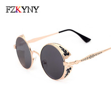 FZKYNY Steampunk Vintage Sunglass Fashion Round sunglasses women men brand design metal carving sun glasses gafas oculos de sol