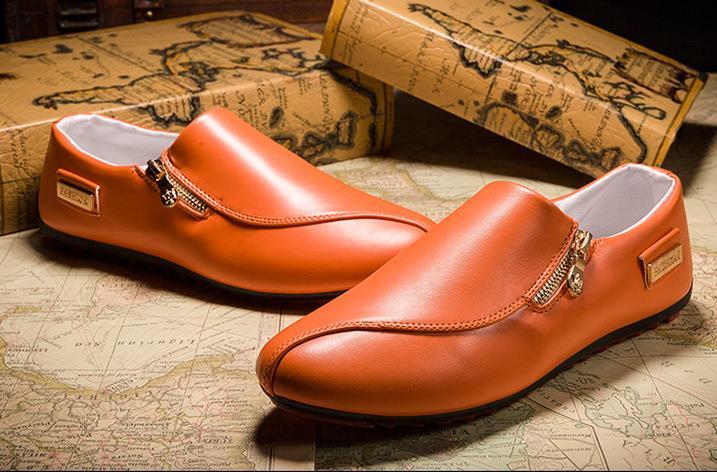 Mâle Chaussures Marque Mocassins Pu Printemps En Homme Cuir Luxe orange blanc Plat Chaussure Casual Respirant Hommes Noir De 5PYtUtqW6B