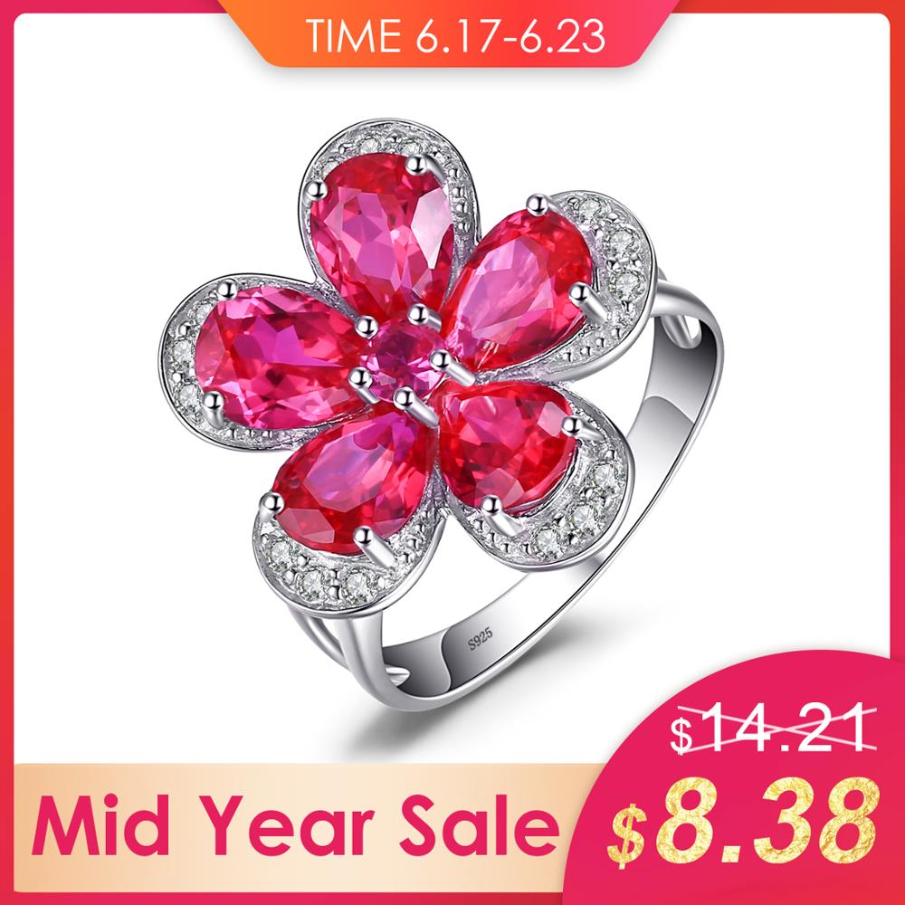 080a99986e JewelryPalace Flower 5ct Created Red Ruby Cocktail Ring 925 Sterling Silver  Ring Fashion Design Statement Ring for Women ~ Premium Deal June 2019