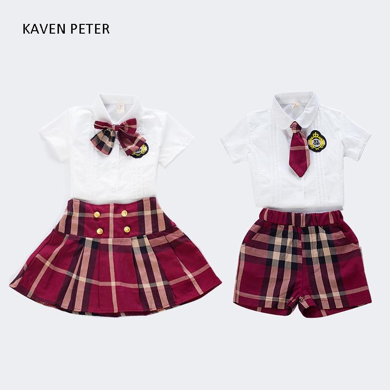 Uniformes scolaires enfants Plaid style britannique costume d'enfant formelle filles blanc blouse avec bowknot jupe 2 pcs ensemble garçon chemise pantalon cravate