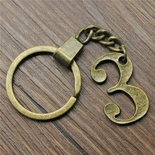 Antique Bronze 42x27mm Number 3 Keychain New Vintage Handmade Metal Key Ring Party Gift