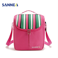 SANNE Nylon Cooler Food Lunch Bag Striped For Insulation Thermal Bags Ice Pack Thicken Folding Food