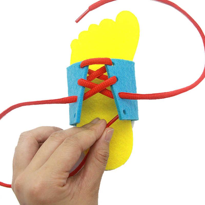 Монтессори игрушечные лошадки для детей раннего обучения шнуровкой обувь детская бабочка шнурки игрушки малыша интеллект учебные пособия