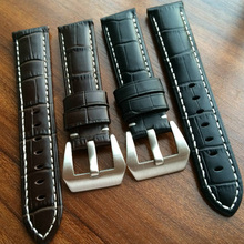 Handmade 22 24 26MM Black Brown Genuine Leather Watch Band Strap Stainless Buckle For PAM Watch