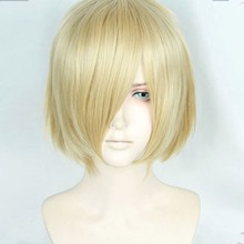 Anime Yuri!!! on Ice Yuri On Ice Plisetsky Yuri Cospaly Wigs Short Blonde Synthetic Hair Peruca COS Wig