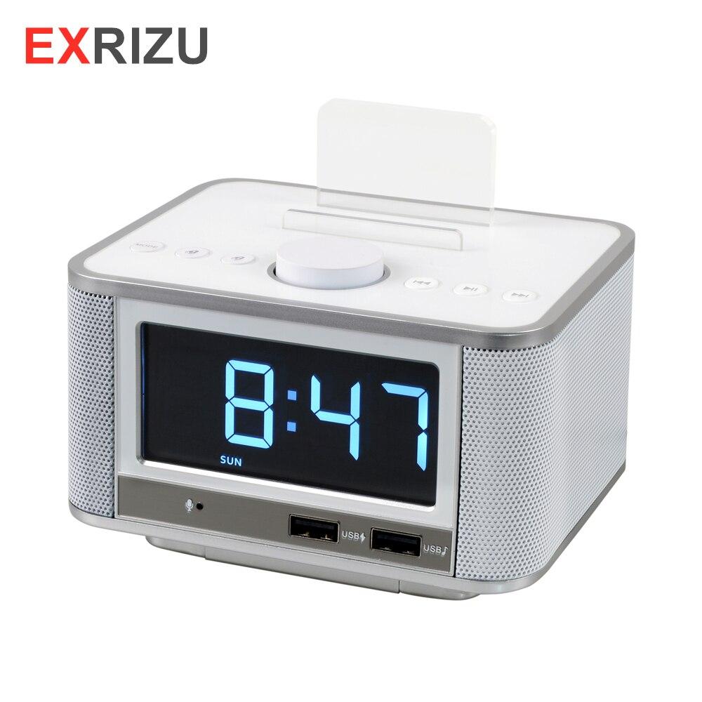 EXRIZU 10 w Bluetooth 4.2 Intelligent Horloge Haut-Parleur de Soutien FM Radio Numérique Mains-livraison U Disque TF Carte Musique jouer 3.5 pouces Écran Snooze