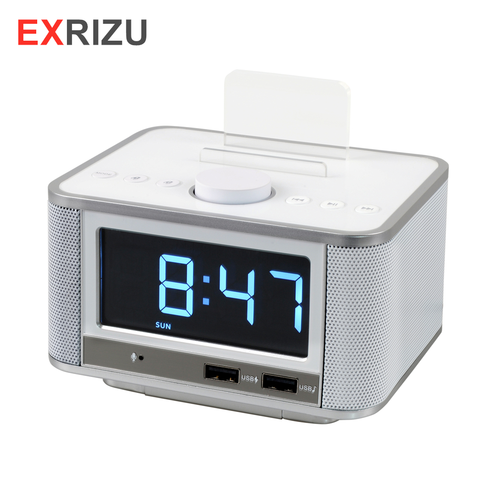 EXRIZU 10W Bluetooth 4.2 Smart Clock Speaker Support FM Digital Radio Hands free U Disk TF Card Music Play 3.5inch Screen Snooze