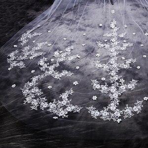 Image 4 - ใหม่ร้อน velos de novia 3 เมตร 2T White & Ivory Lace Appliques Rhinstones Purfle ยาวแต่งงาน Wedding Veils หวี