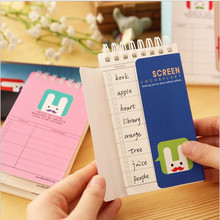 1PCS13*8CM Cute Rabbit Coil Book English Word Book Loose-Leaf Portable Book Memo Word Book Notebook Delivery Board Four Colors
