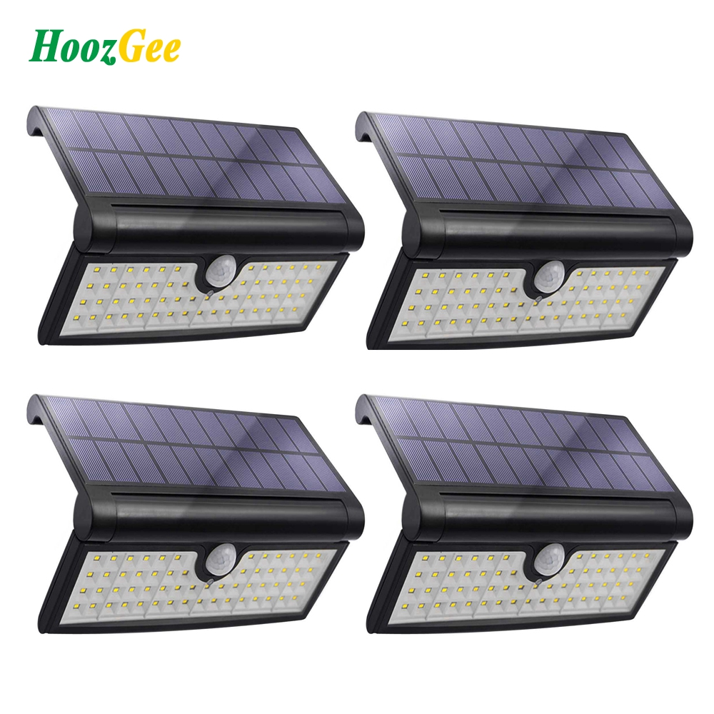 HoozGee Solar Lights Outdoor 58 LED Motion Sensor Lights Wall Light Garden Porch Security Lamp with Wide Lighting Area