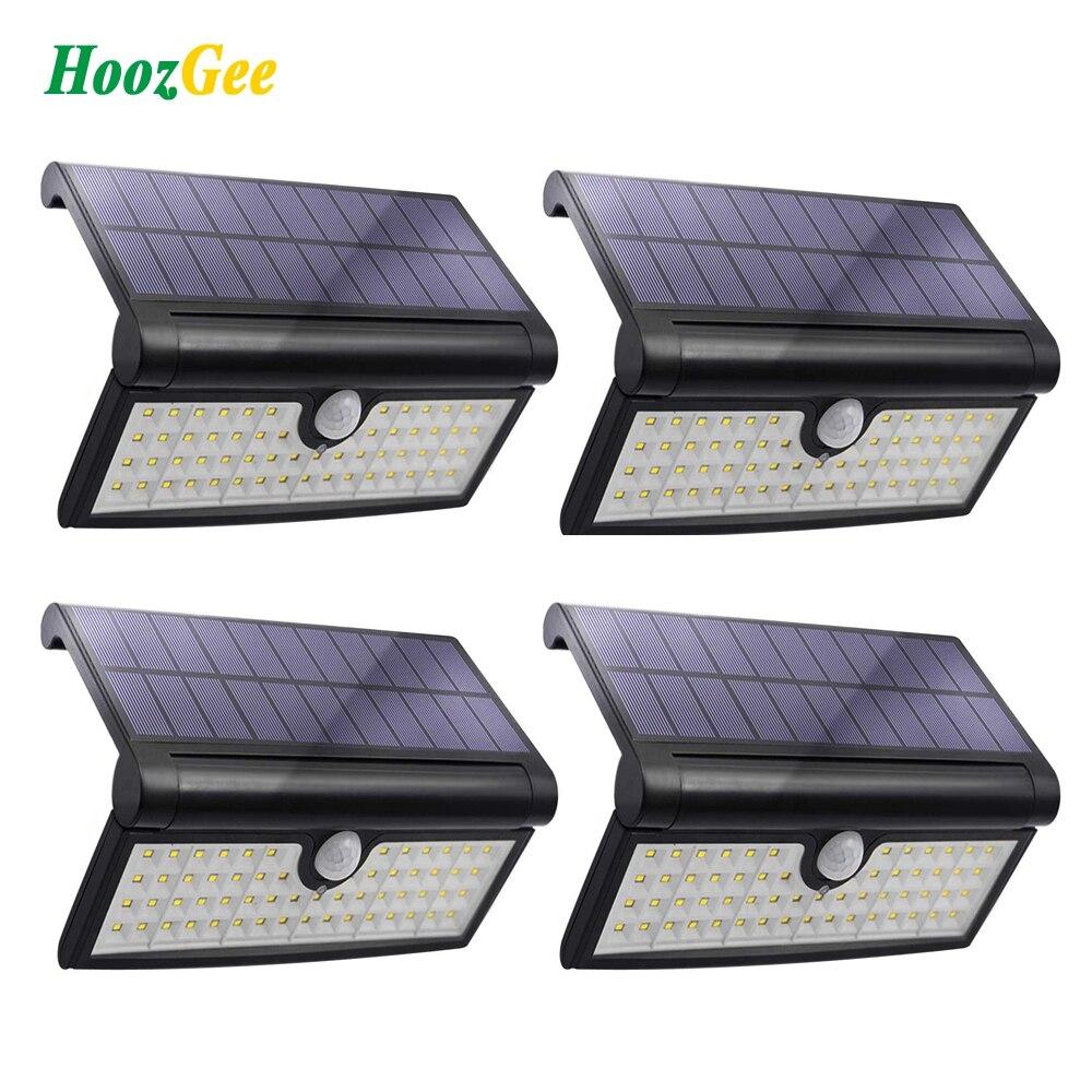 HoozGee Solar pared luz exterior jardín Super brillante 58 LED Sensor de movimiento luces porche lámpara de seguridad con área de iluminación amplia
