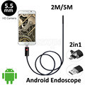 5.5mm Lente Android USB Endoscópio Camera 2 M 5 M Flexível Cobra Tubo de Detecção de Telefone Android PC OTG USB Câmera Borescope USB 6 LEDS