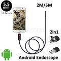 5.5mm Lente Android USB Endoscopio Cámara 2 M 5 M de La Serpiente Flexible USB Teléfono Android PC OTG USB Animascopio de la Cámara de Detección De Tubería 6 LEDS