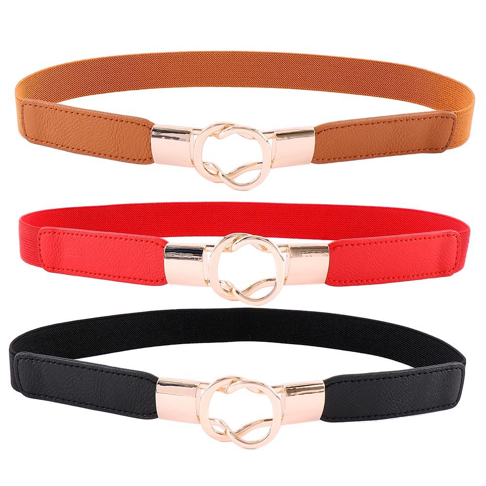 Free Shipping Fashion Women's Belt Elastic Waistband Gold Circle Buckle Small Belts Red Thin Cummerbund Woman Belt Strap Brown