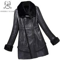 2017 new Winter Sheep genuine leather jacket Women black sexy oblique zipper slim long feminino natural mouton lamb fur coats