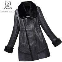 2017 New Winter Sheep Genuine Leather Jacket Women Black Sexy Oblique Zipper Slim Long Feminino Natural
