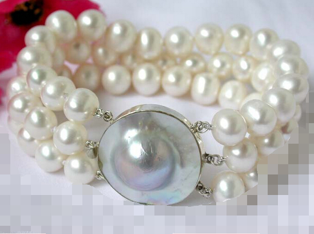 все цены на 09568 3strands white round freshwater pearl bangle bracelet hop Natural >>free shipping