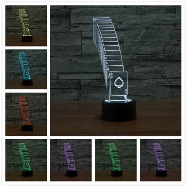 Special 3D Folding Poker  LED Strip 7Color Change Desk Table Light Lamp Usb Led 3d  night light Powerbank Table Lamp