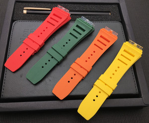 Image 2 - New 20mm Red White Black Green Gray Blue Yellow Orange Rubber Watchband  For Richard strap for RM011 Mille Bracelet watch band