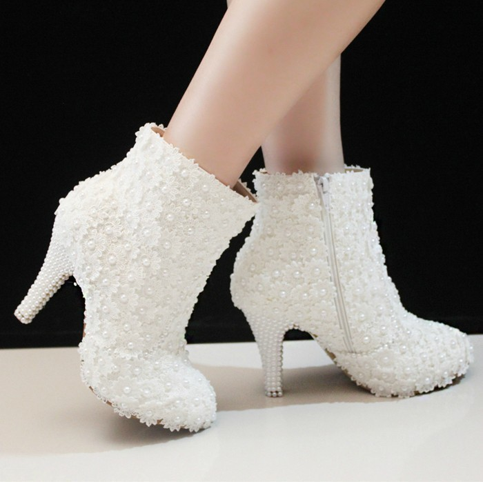 ФОТО 2016 Sexy Fashion White Lace Lady Party Prom Shoes  Winter High Heel Ankle Boots Wedding Shoes For Bridal Dress Shoes