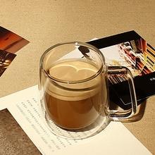 Freies Verschiffen Hohe Borosilikatglas Kaffeetasse Dual Layer Volle Transparent Bleifrei für Tee oder Kaffee Kurze Stil Qualität becher