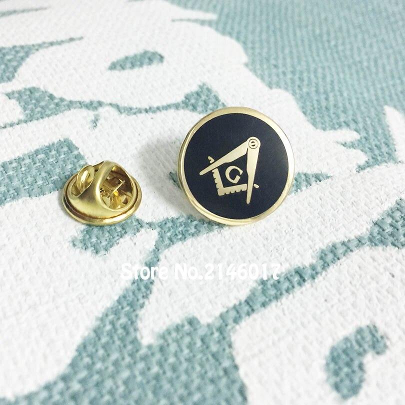 10pcs Wholesale 17mm Round Shape Hard Enamel Black Masonic Free Masons  Lapel Pins Freemason Square and Compass with G Pin Brooch fbf3a8c162a5