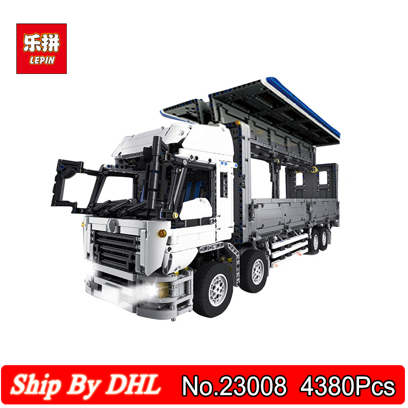 DHL Shipping Lepin 23008 Technical Series The MOC Wing Body Container Truck 4380Pcs Blocks Bricks Toy Compatible Legoingly 23008 4380pcs technical series the moc wing body truck set compatible with 1389 educational building blocks children toys